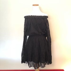 FREE PEOPLE Witchy Black Lace Long Sleeve Dress